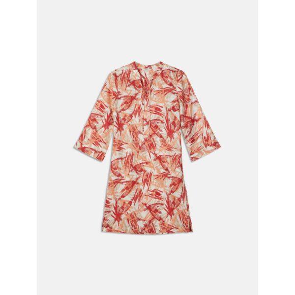 Sandwich NL Korte jurk in een comfortabel model van linnen met all-over schilderachtige print. De jurk met wijde mouwen heeft een v-hals en rechte schouders. De jurk is wijdvallend en kan met een centuur gedragen worden.