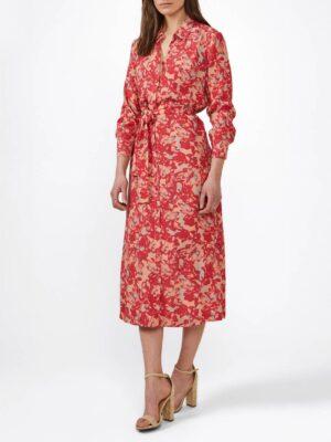 Sandwich NL Dit seizoen kies jij voor verfijnde materialen en vrouwelijkheid. Gemaakt van een viscose stretch is deze jurk verrijkt met een levendige multigekleurde schilderachtige print. Het model heeft een knoopsluiting en een ceintuur om je silhouet te benadrukken .