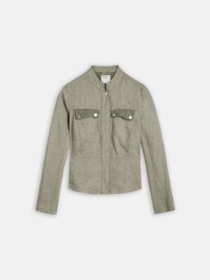 Sandwich NL Dit linnen jasje met mesh details is perfect voor de zonnige dagen. De jas sluit met drukknopen en heeft een ronde hals.