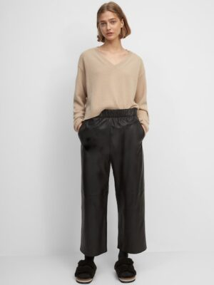 Marc O'Polo Leren broek in culotte-stijl black