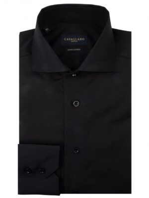 Cavallaro Napoli Heren Overhemd - NOS Nero Overhemd - Zwart -