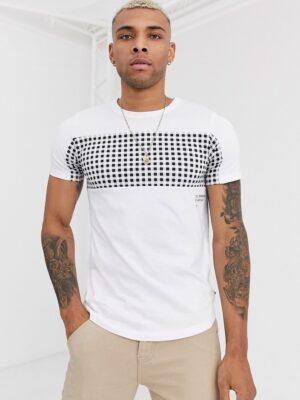 Jack & Jones - Core - T-shirt met ronde zoom en gingham-ruit in wit
