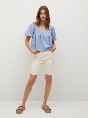 Mango  Katoenen crop blouse
