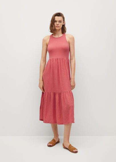 Mango  Getextureerde jurk met strook