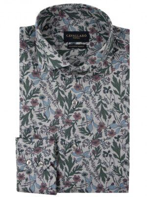 Cavallaro Napoli Heren Overhemd - Florado Overhemd - Grijs -