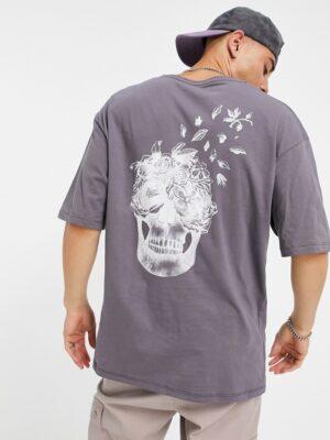 Jack & Jones - Originals - T-shirt met doodshoofdprint in grijs-Zwart