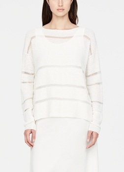 SarahPacini EU Deze linnen trui heeft een sterrensteekmotief en doorzichtige strepen