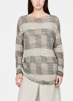 SarahPacini EU Een lange linnen trui met opvallende details. De gehaakte stof en het zachte patchworkpatroon vestigen de aandacht op het verfijnde Italiaanse vakmanschap van deze stijl.