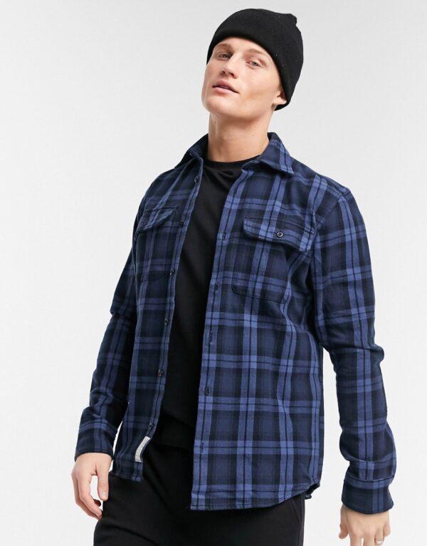 Jack & Jones Premium - Overshirt met borstzakken in marineblauwe ruit