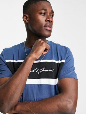 Jack & Jones - T-shirt met logo en kleurvlakken in blauw