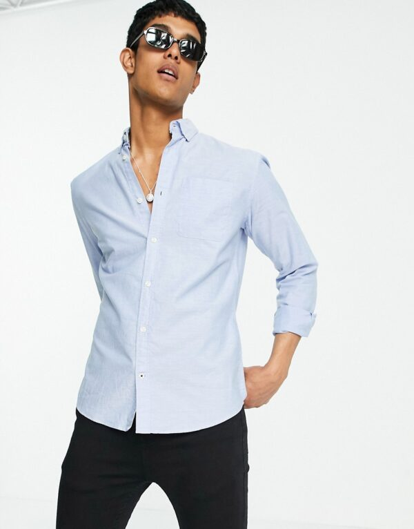 Jack & Jones - Essentials - Gestreept Oxford overhemd in lichtblauw
