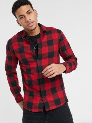 Jack & Jones - Essentials - Overhemd met buffalo-ruit in rood en zwart