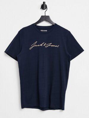 Jack & Jones Originals - T-shirt met klein tekstlogo in marineblauw