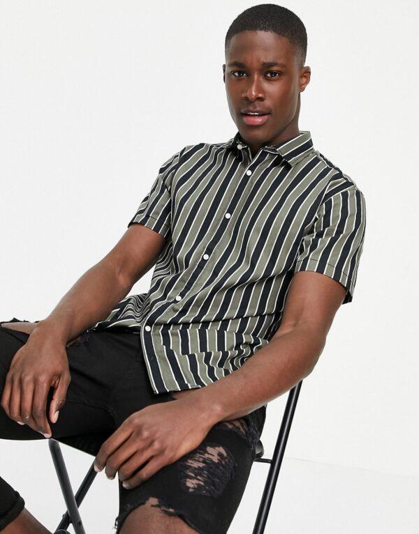 Jack & Jones - Originals - Overhemd met verticale strepen en reverskraag in kaki/zwart-Groen