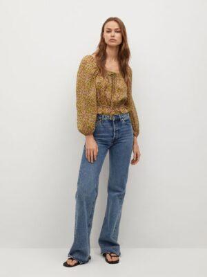 Mango  Bedrukte off-shoulder blouse