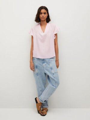 Mango  Getextureerde blouse met strik