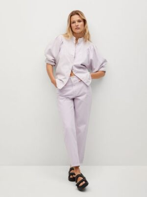 Mango  Denim blouse met pofmouwen