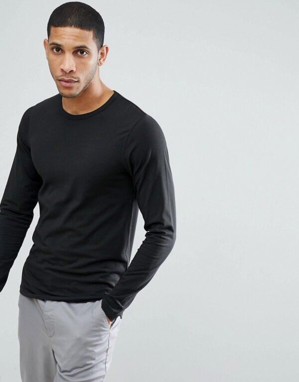 Jack & Jones - Essentials - T-shirt met lange mouwen in zwart