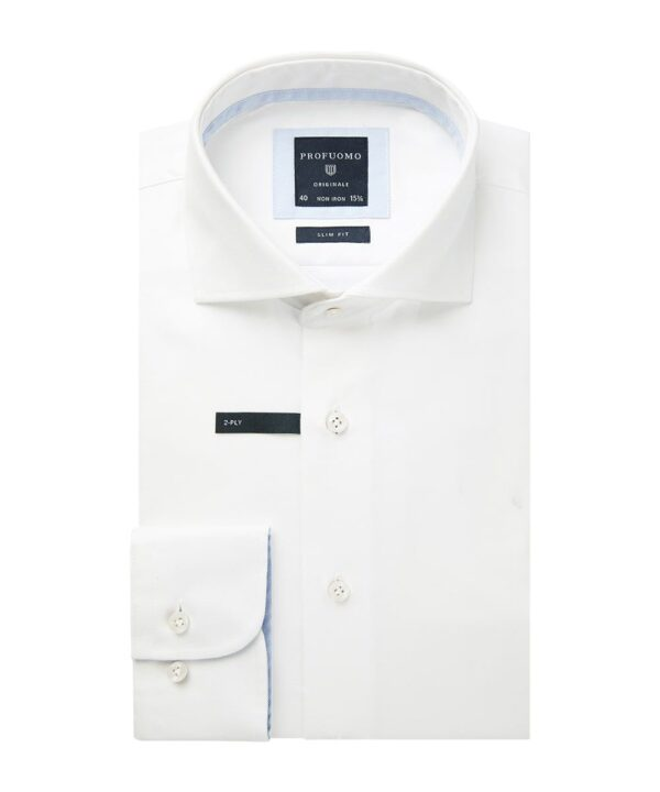 Profuomo heren wit two-ply twill overhemd Originale