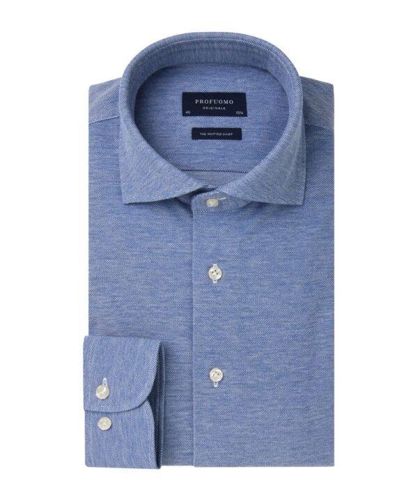 Profuomo heren blauw mélange knitted overhemd Originale