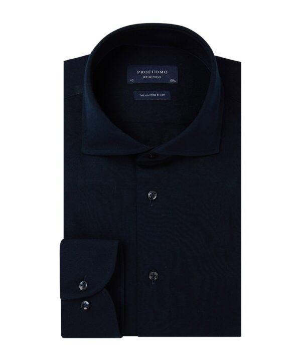 Profuomo heren navy single jersey knitted overhemd Originale