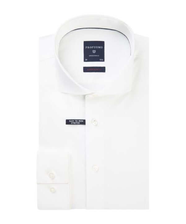 Profuomo heren wit super slim-fit stretch overhemd Originale