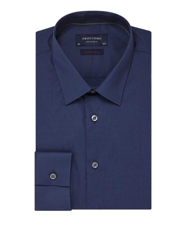 Profuomo heren navy super slim-fit stretch overhemd Originale