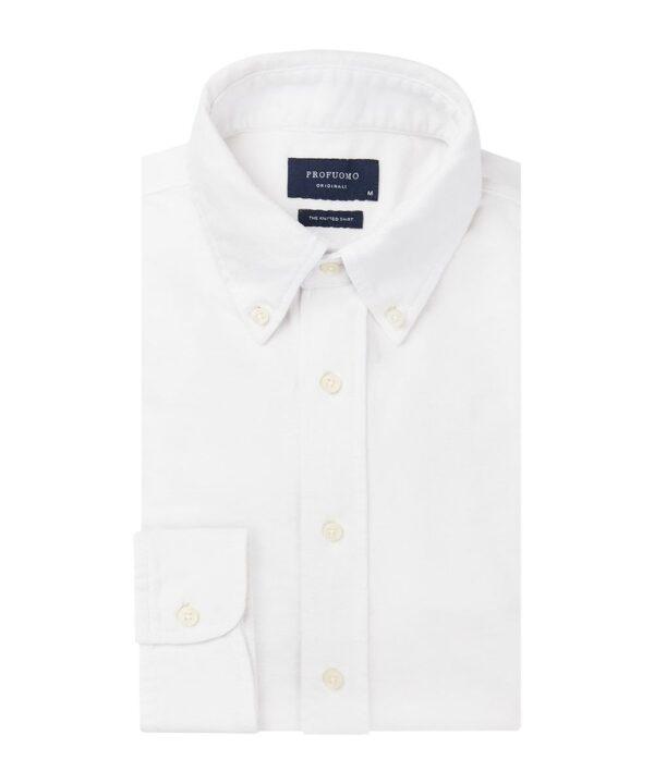 Profuomo heren wit garment dyed overhemd Originale