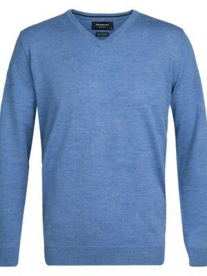 Profuomo heren blauw merino v-hals pullover