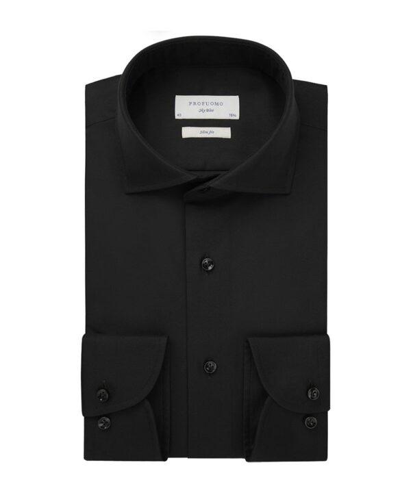 Profuomo heren black royal twill no 6 overhemd