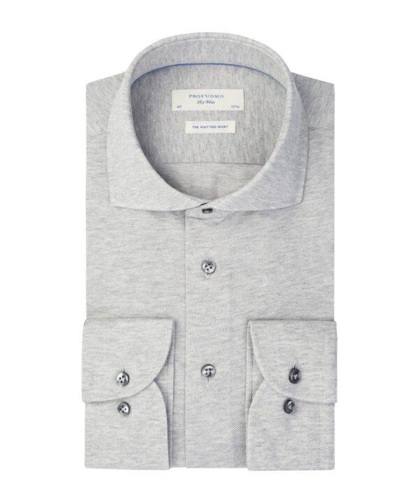 Profuomo heren grijs mercerised knitted overhemd Sky Blue