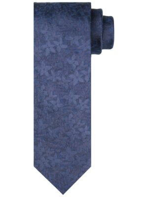 Profuomo heren blauwe bloemenprint stropdas