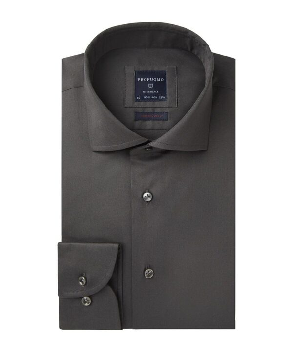 Profuomo heren grijs super slim fit stretch overhemd Originale