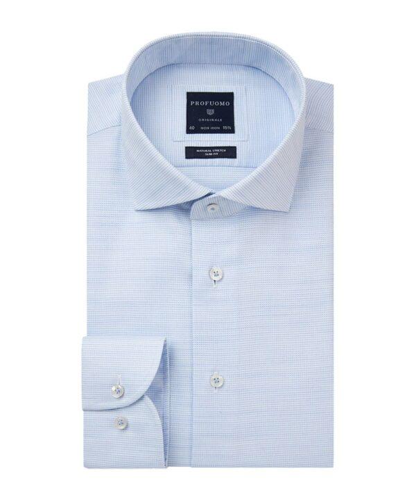 Profuomo heren blauw dobby overhemd Originale