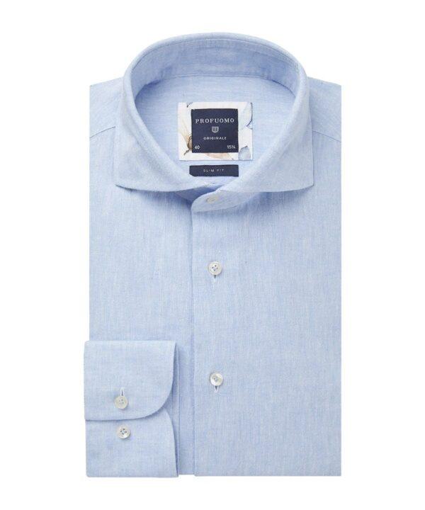 Profuomo heren blauw linnen one-piece overhemd Originale