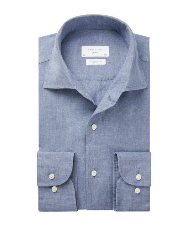 Profuomo heren blauw one piece linnen one-piece overhemd Sky Blue