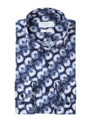 Profuomo heren navy linnen one-piece overhemd Sky Blue