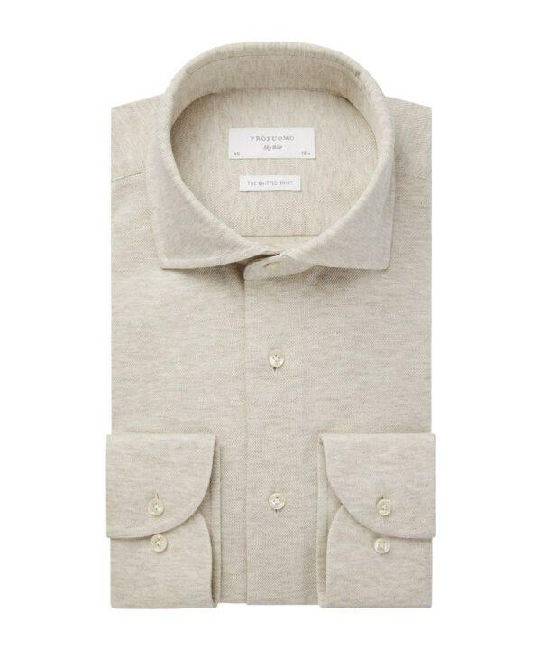 Profuomo heren beige knitted overhemd Sky Blue