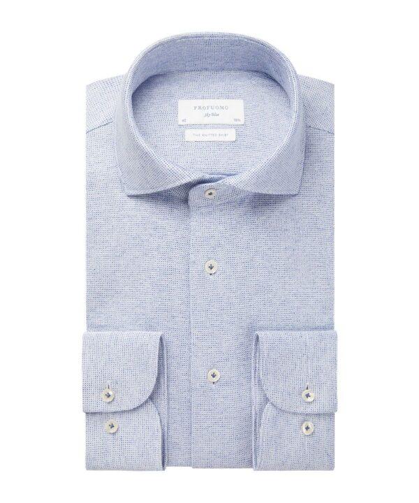 Profuomo heren blauw knitted overhemd Sky Blue