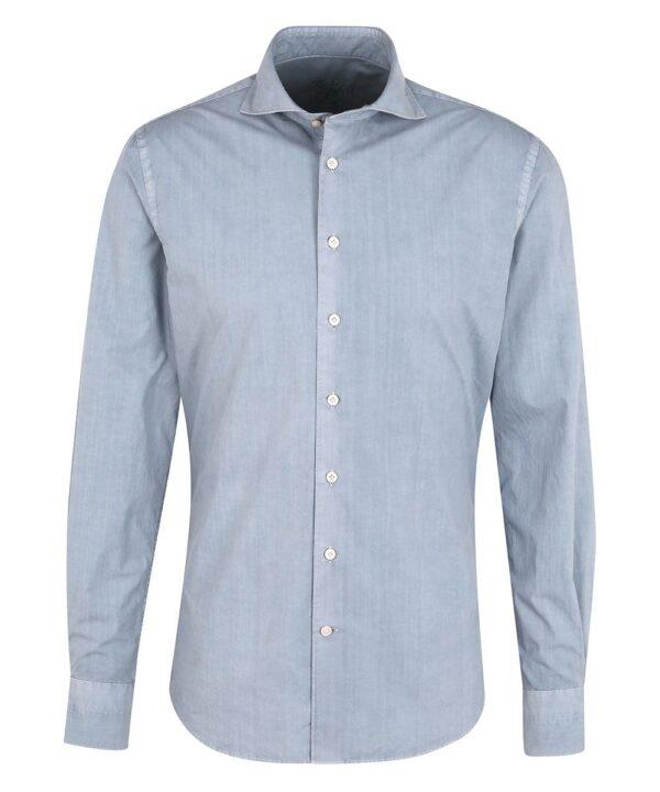 Profuomo heren blauw garment dye overhemd Sky Blue