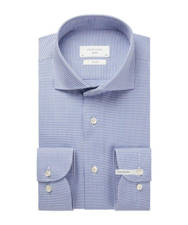 Profuomo heren blauw dobby overhemd extra lange mouw
