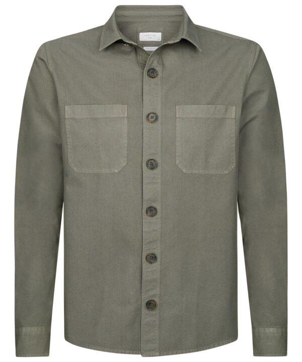 Profuomo heren groen garment dye overshirt