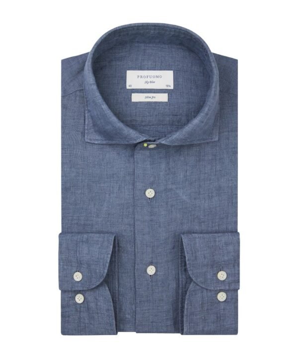 Profuomo heren blauw linnen one-piece overhemd Sky Blue