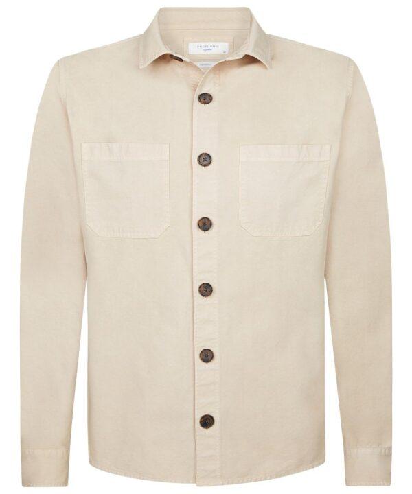 Profuomo heren beige garment dye overshirt