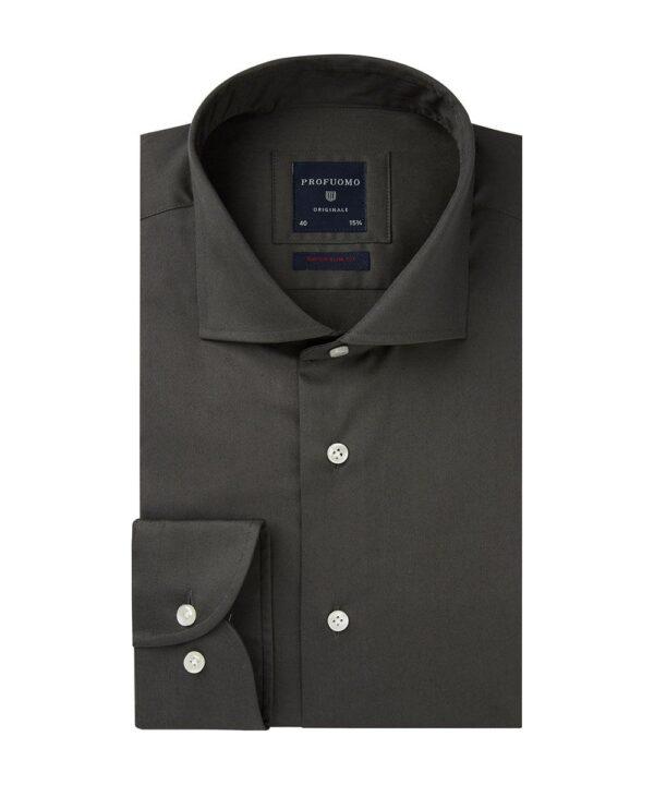 Profuomo heren antraciet super slim fit stretch overhemd Originale