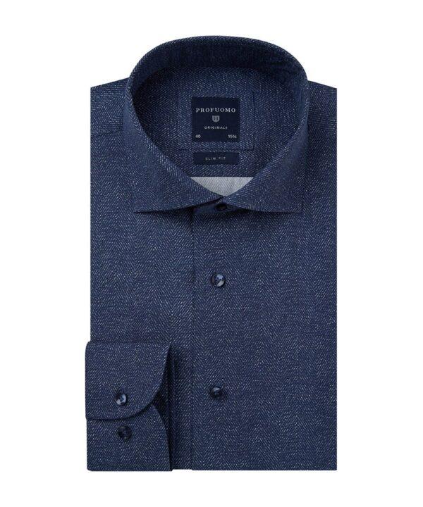 Profuomo heren navy print overhemd Originale