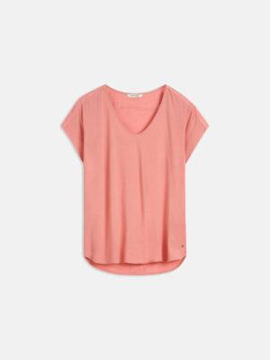 Sandwich NL Dit Basic T-shirt met V-hals heeft minimalistische details en is op talloze manieren te combineren. Door de sprekende kleur