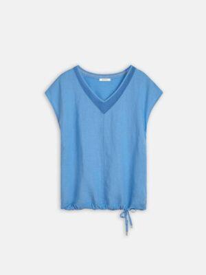 Sandwich NL Dit linnen T-shirt met mesh details is heerlijk luchtig. Het shirt heeft kort aangeknipte mouwen