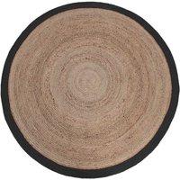 Vloerkleed Jute - Zwart - Jute - 180x180 cm